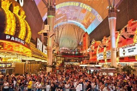Fremont Street in downtown Las Vegas is becoming a popular tourist destination.