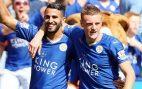 Leicester City's Riyad Mahrez and Jamie Vardy