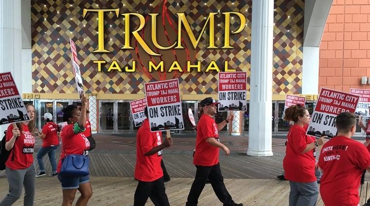 Workers picket Trump Taj