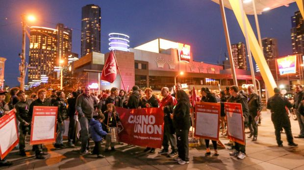 Crown Melbourne casino workers union protest