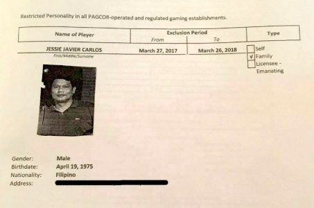 Exclusion order for Jessie Javier Carlos