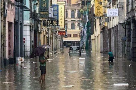 Flooding in Macau after Typhoon Hato