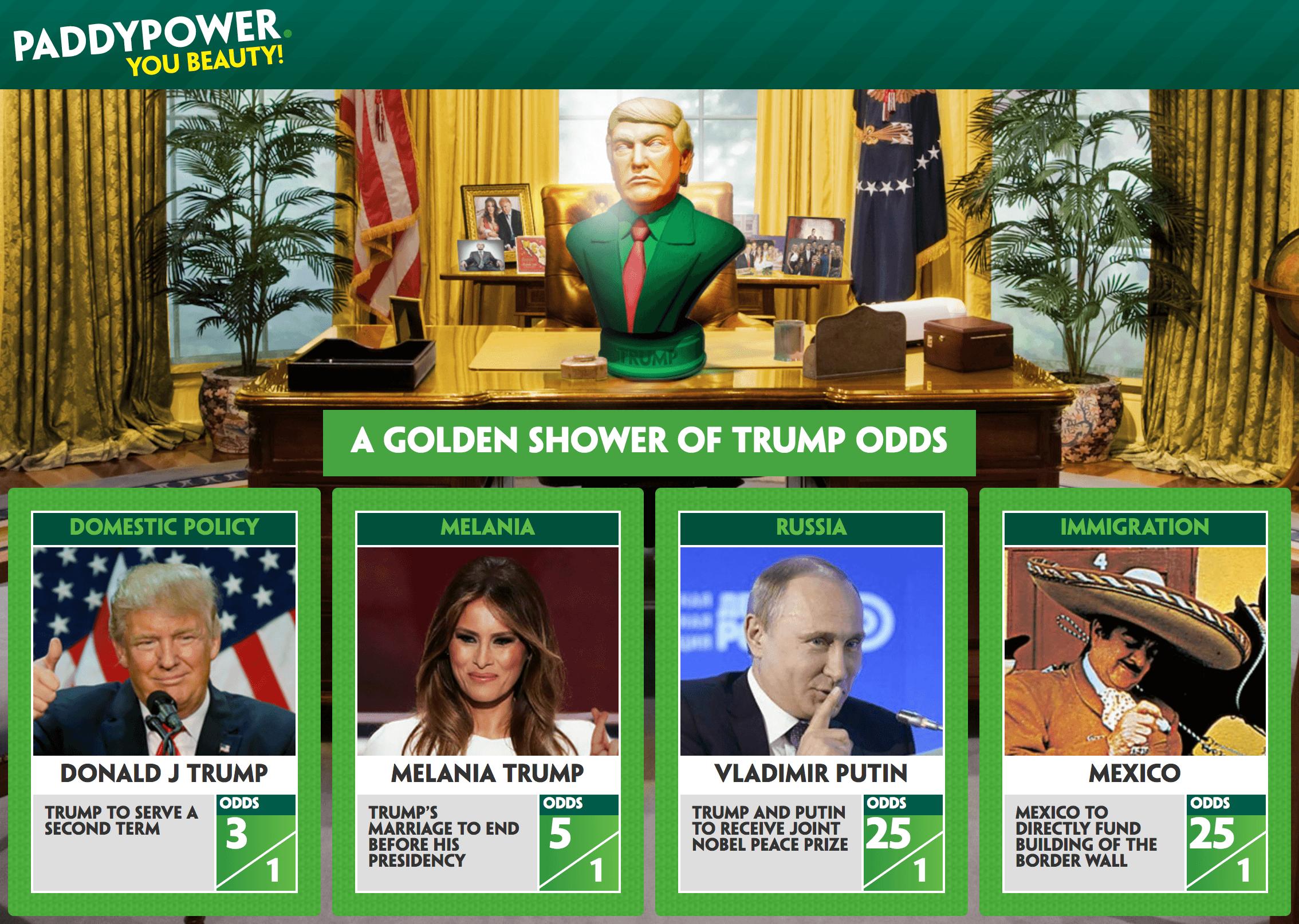 Donald Trump odds Paddy Power