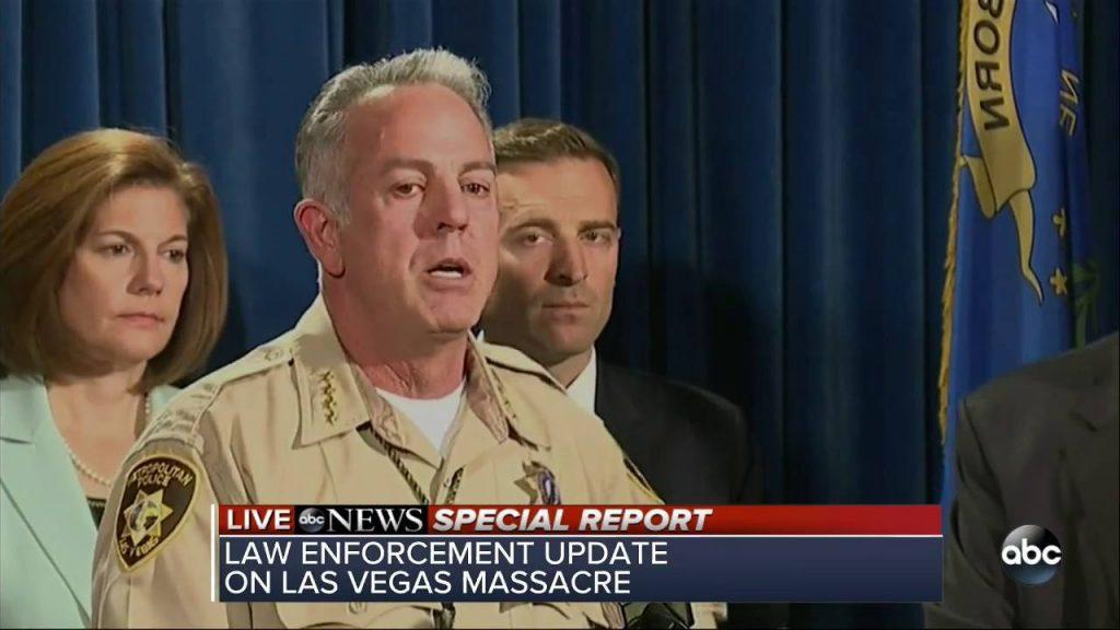 Las Vegas Sheriff Joe Lombardo at a podium.