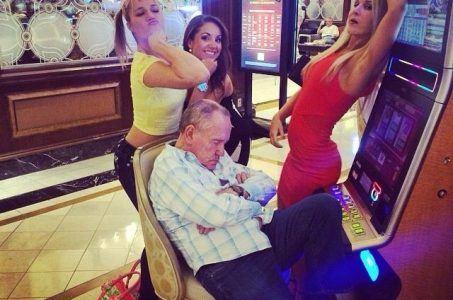 gamblers pass out slot machine