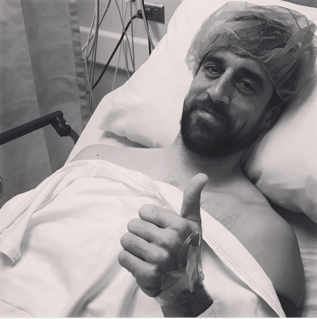 Aaron Rodgers in the hospital