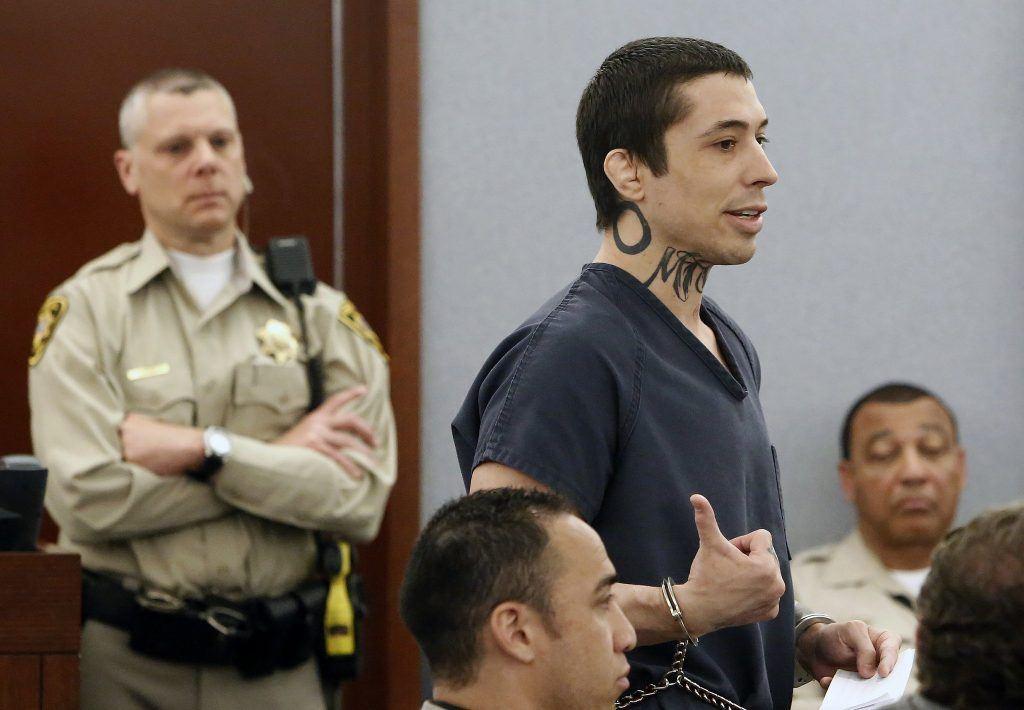 Jonathan Kopenhaver, aka War Machine, being sentenced in Las Vegas