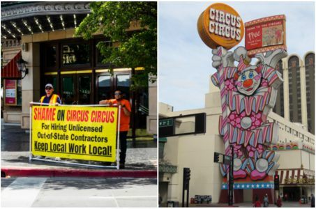 Circus Circus Reno renovation union protest