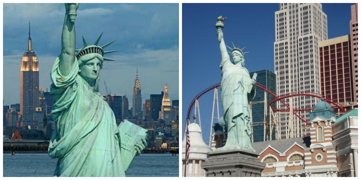 Similar But Different The Real Statue Of Liberty In New York Harbor Left And Replica By Artist Robert Davidson Front
