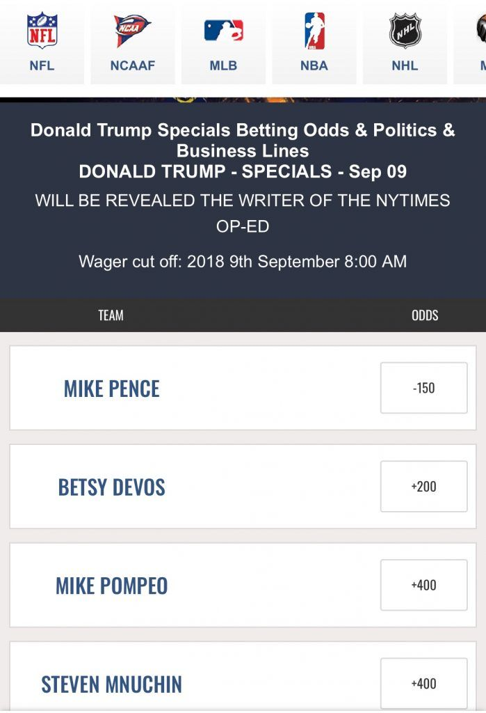 MyBookie novelty Trump NYT Op-Ed bet (Image: MyBookie.ag