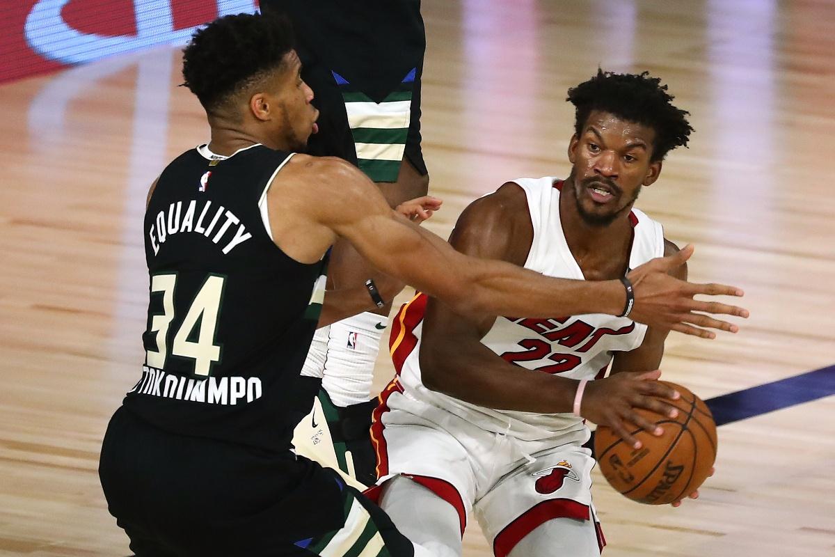 Bucks Giannis Antetokounmpo and Heat Jimmy Butler