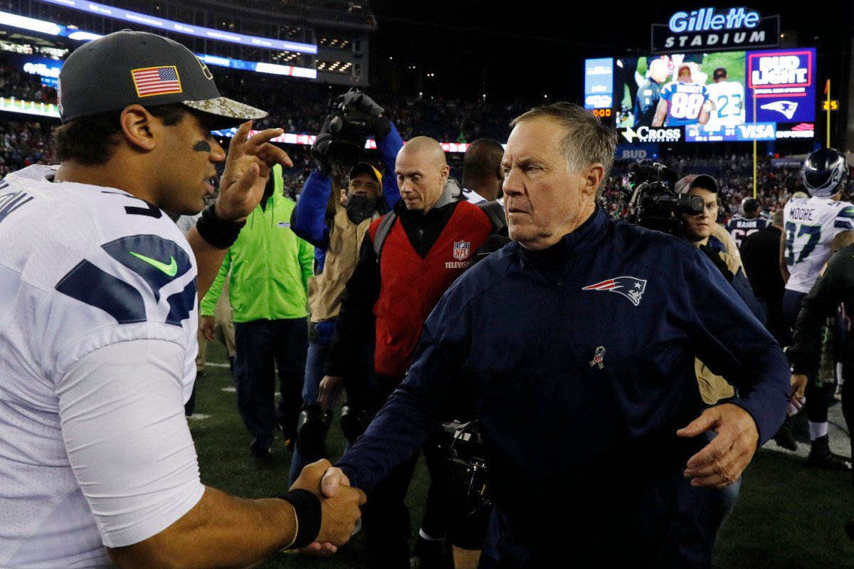 Seahawks QB Russell Wilson and Patriots coach Bill Belichick.
