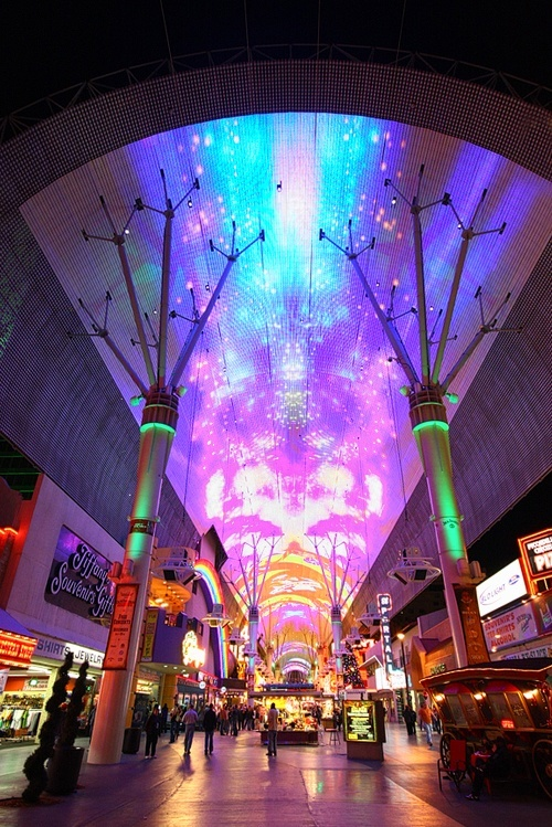 """Twelve million LED lamps light up the """"barrel vault canopy"""" at the Fremont Street Experience. Add that to your """"Crap I Don't Need to Know"""" file."""