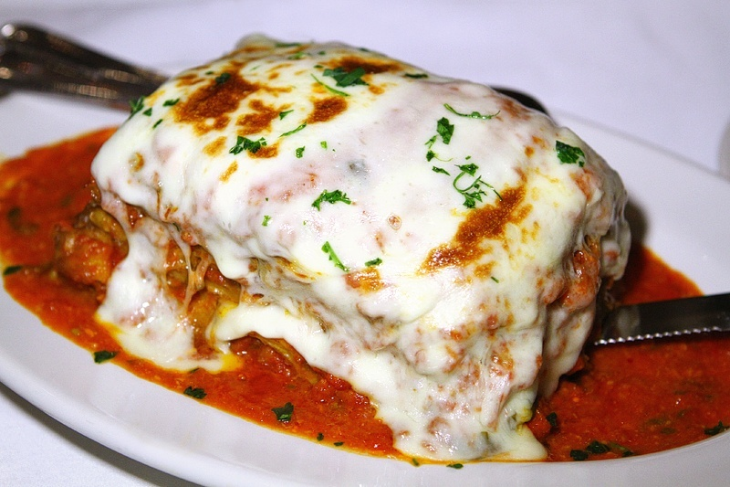 The eggplant parm is as big as a summer home.