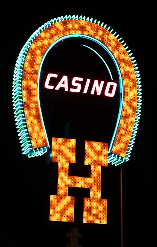 """One of our favorite restored Las Vegas signs, back when the Horseshoe was a casino, not a """"brand."""""""