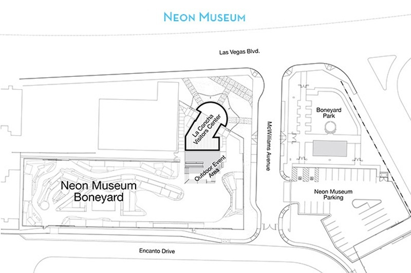 Here's the lay of the land at the Neon Museum complex.