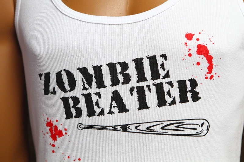 We don't feel right sharing this zombie beater T-shirt. Probably.