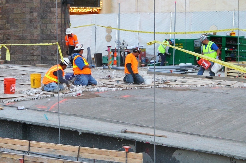 We're got the first and only photo of the labor-intensive process of bricking up New York-New York's bridge.