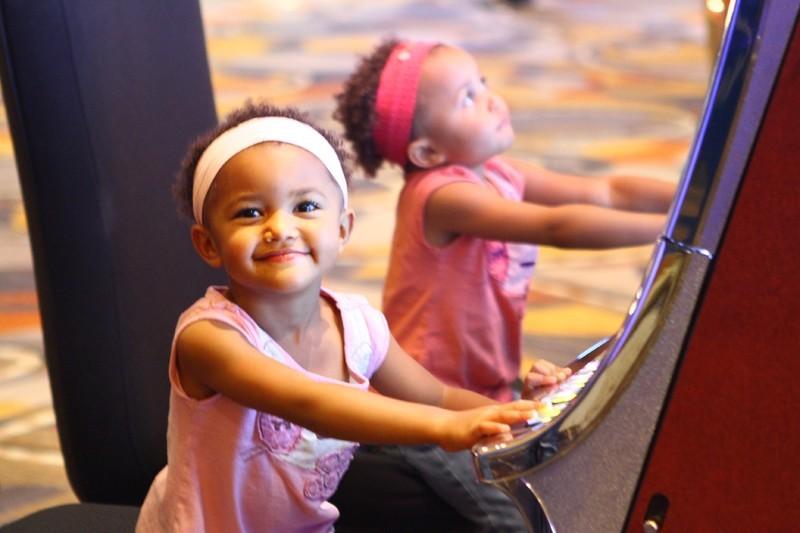 Kids playing slots