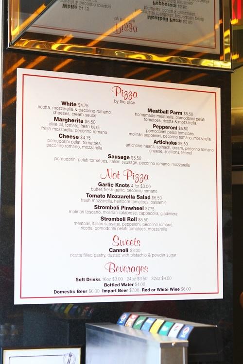 Pin-Up Pizza menu