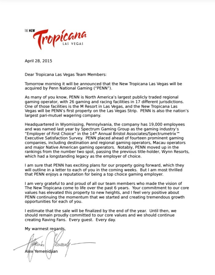 Tropicana Las Vegas Set for Sale to Penn National Gaming