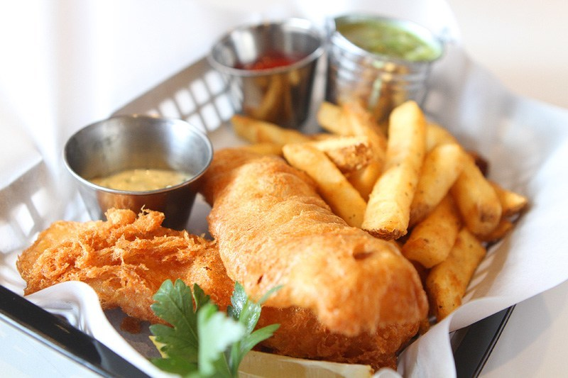 Smashed Pig fish and chips