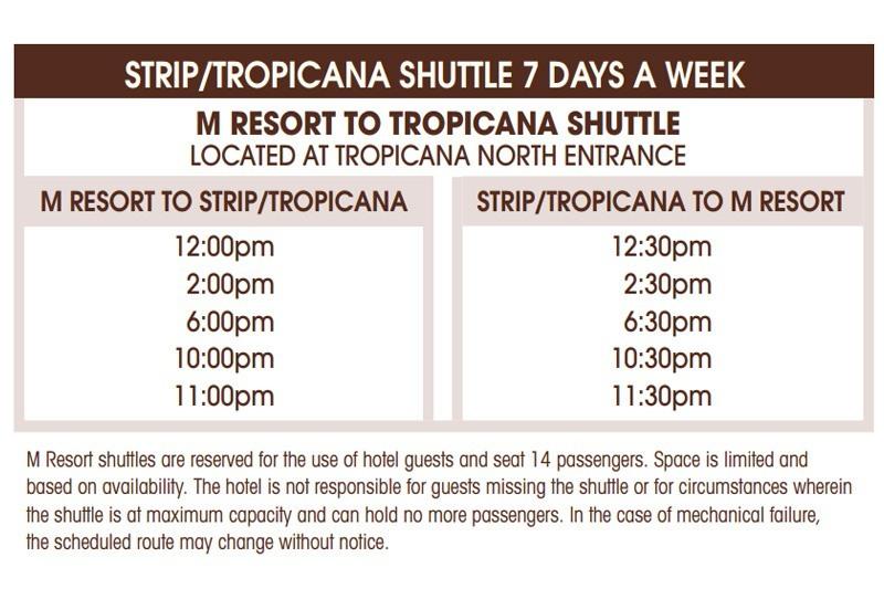Tropicana shuttle schedule