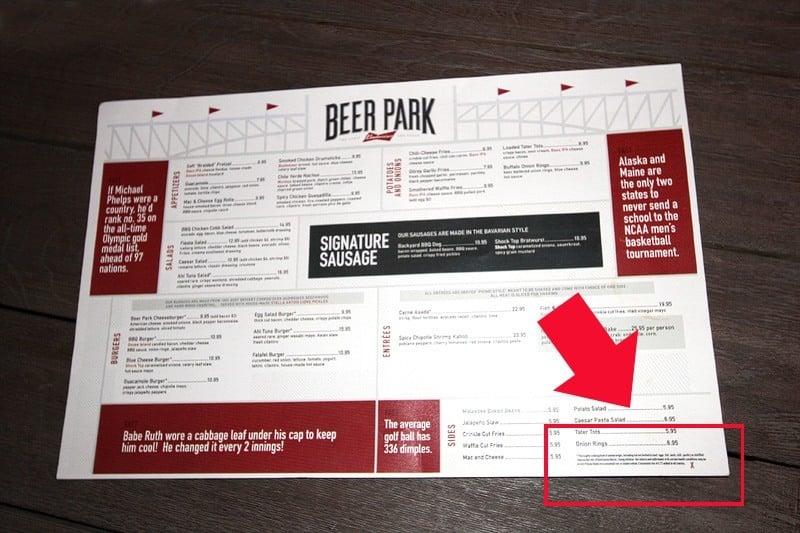 Beer Park Las Vegas menu