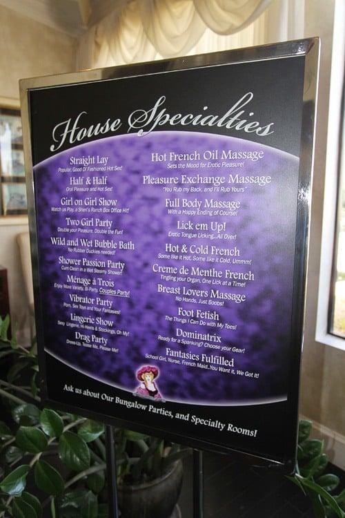 Las Vegas brothel menu