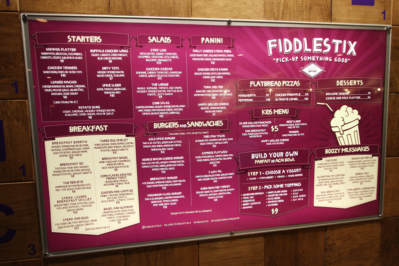 Fiddlestix Gold Spike menu