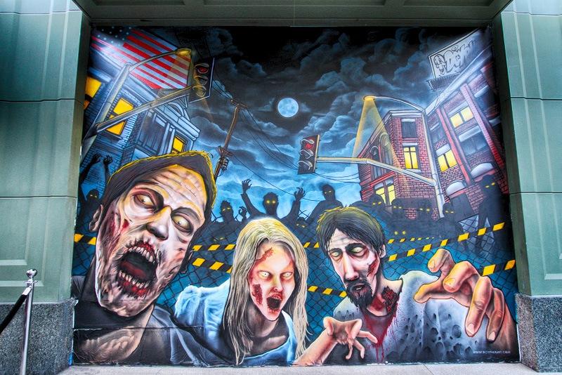 Halloween zombie mural