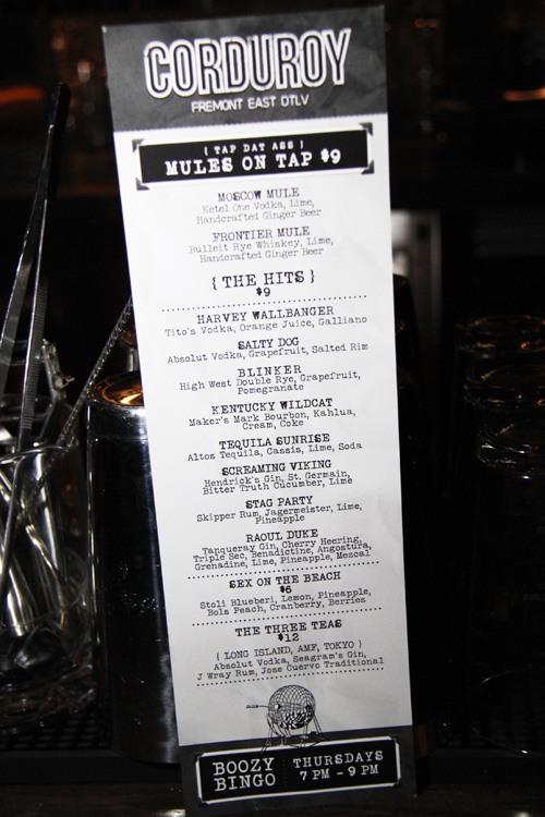 Corduroy drink menu
