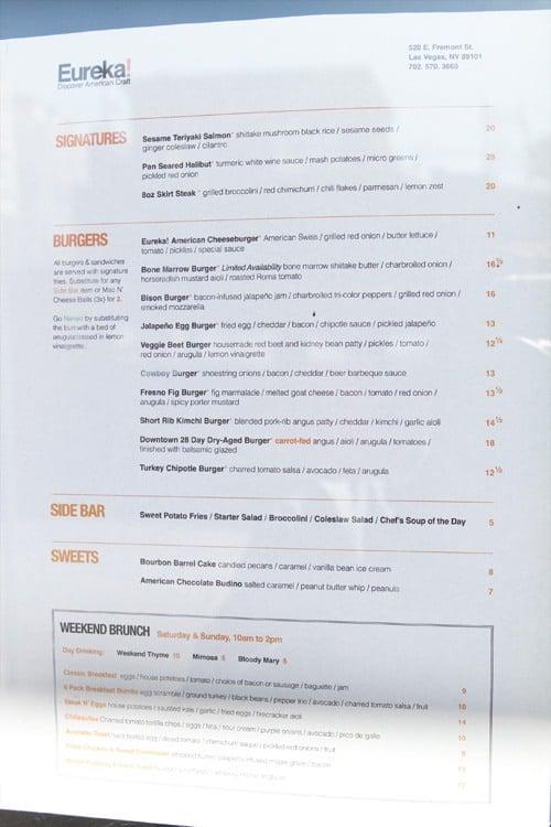 Eureka restaurant menu