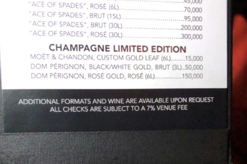 XS Nightclub venue fee