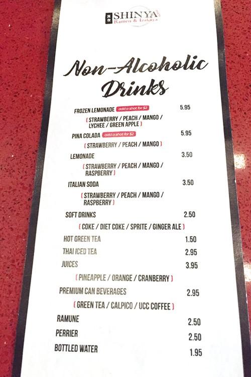Shinya cocktail menu