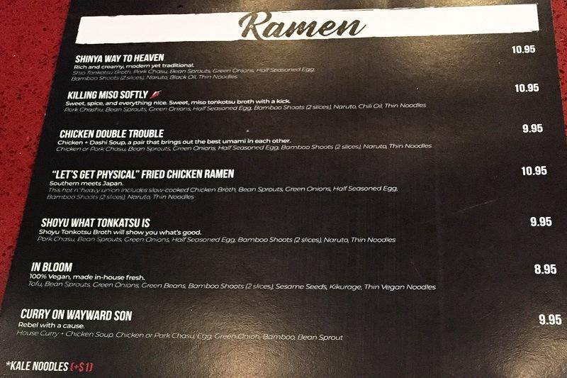 Shinya Las Vegas ramen menu