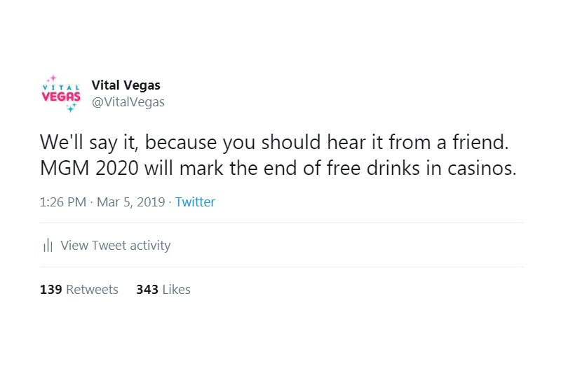 Free drinks in casinos