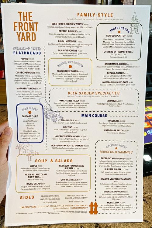Front Yard Ellis Island menu