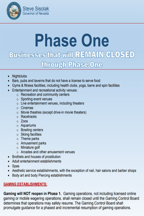 Nevada phase one closed