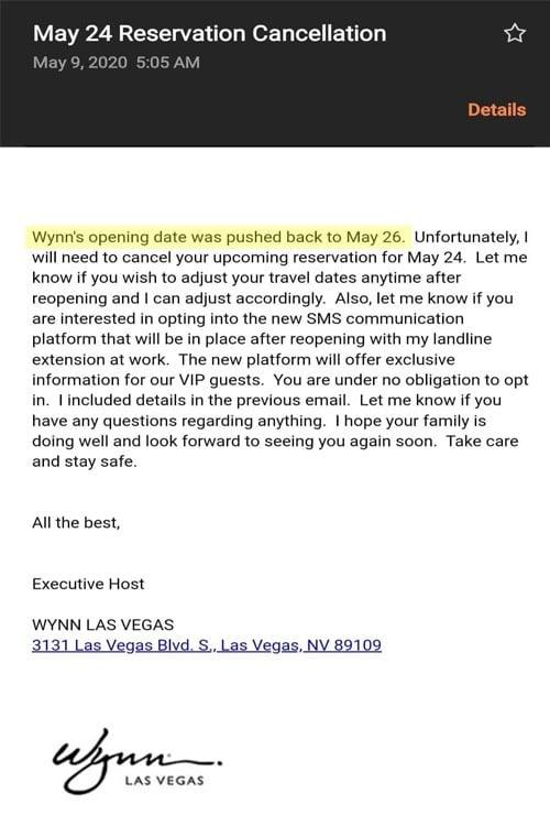 Wynn reopening