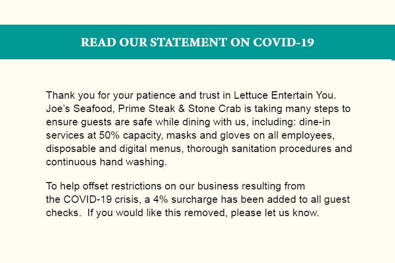 Joe's COVID fee