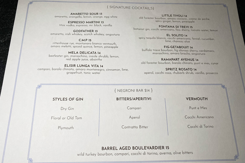 Al Solito cocktails